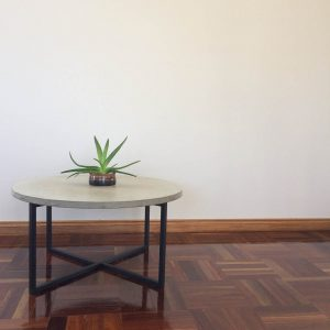 Handmade Geelong concrete coffee table with matte black legs, Geelong