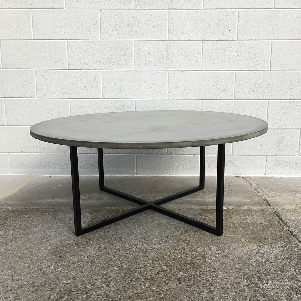 Round concrete coffee table with matt black legs  Geelong. Geelong Handmade Concrete Garden Furniture   Concrete Republic
